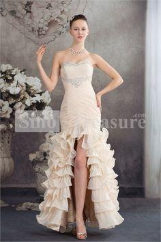 Floor-Length Satin/Chiffon Sweetheart Beading/Ruffle Prom Dress -Wedding  ☺ ✿