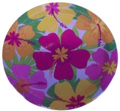 "Custom & Unique {10.5"" Inch} 8 Count Multi-Pack Set of Large Size Round Circle Disposable Paper Plates w/ Tropical Floral Paradise Wild Island Flower ""White, Pink, Yellow & Green Colored"""