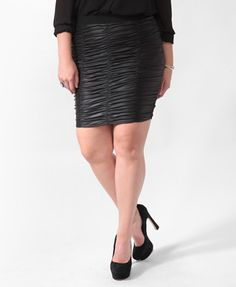 Coated Ruched Bodycon Skirt   FOREVER21 PLUS - 2012360695