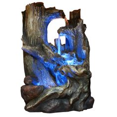Tree Trunk Tabletop Fountain With LED Light
