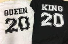Pack de 2 camisetas personalizadas para parejas KING and QUEEN