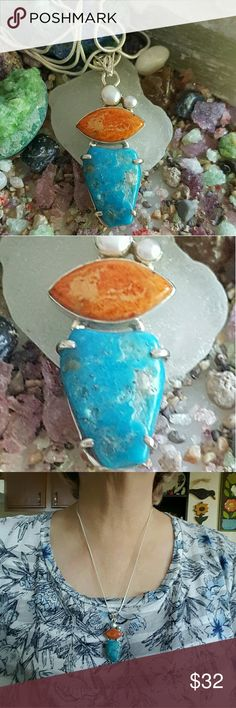 Turquoise Coral Necklace Sterling Silver Earth Art hand crafted artisan necklace in solid sterling silver setting and chain hallmarked 925. BIG chunk of Arizona Sleeping Beauty Turquoise rich blue color! Italian coral and real pearls! NEW. ALWAYS WEAR ART! Earth Art hand crafted artisan  Jewelry Necklaces