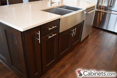 Espresso Stained kitchen island with a solid surface top; cabinets shown are Deerfield Shaker Maple Espresso. Paint Cabinets White, Painting Oak Cabinets, Staining Cabinets, Kitchen Cupboard Colours, Kitchen Cupboards, Kitchen Island, Off White Kitchens, Cool Kitchens, Discount Cabinets
