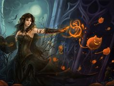 My Free Wallpapers  Fantasy Wallpaper Halloween Witch
