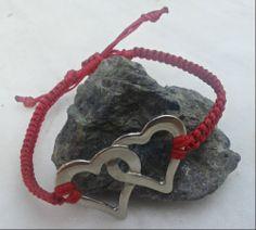 handmade bracelet/ macrame/ red/ hearts/ metal/ K.S - Handmade Jewel Red Hearts, Macrame Tutorial, Handmade Bracelets, Jewels, Metal, Leather, Jewerly, Metals, Gemstones