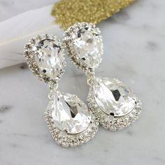 White Crystal Chandelier Earrings Swarovski Silver Bridal Jewelry Set And Bracelet