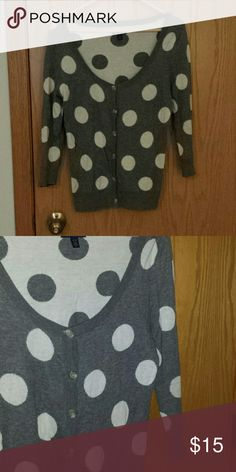 American Eagle Poka Dot Sweater American Eagle Outfitters 3/4 sleeve gray and white  poka dot sweater. American Eagle Outfitters Sweaters Cardigans