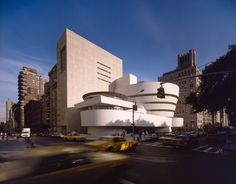 "Completed in 1959, the Solomon R. Guggenheim Museum (constructed 1956-1959) is an architectural icon that stands in stark contrast to its rectangular Manhattan neighbors with its curved surfaces. Wright famously said the museum would make the nearby Metropolitan Museum of Art ""look like a Protestant barn"". #dwell #franklloydwright #unescoworldheritagebuildings"