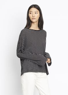 Relaxed Long Sleeve Crew for Women   Vince