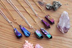 Comet Crystal Necklace   Aura Quartz Blue Purple by kissthefuture