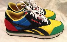 Vintage Reebok Rolland Berry Multi Colored Bright Yellow Sneakers Shoes  Size 8.5 スニーカー 服装 男性 a275e1747