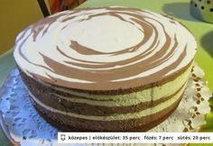 Hugarian recipe of stripy cheese cake - Csíkos tejszínes túrós torta Hungarian Desserts, Hungarian Cake, Hungarian Recipes, Cake With Cream Cheese, Cake Cookies, Cake Recipes, Cheesecake, Deserts, Yummy Food