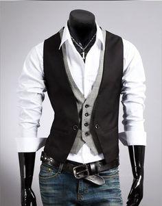 Vintage Fashion Checkered Stitching Two False Design Men s Vest Waistcoat  Jacket  d1202b2131