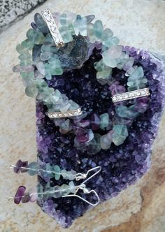 Natural Fluorite gemstones stretch bracelet with matching dangling earrings by CCGemstoneJewelry on Etsy