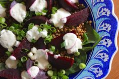 Green Gourmet Giraffe: Beetroot and lentil salad  ** yogurt salad dressing