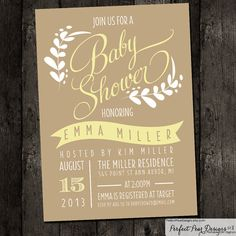 Baby Shower Invitation - Floral - Yellow, poster style, flowers, girl, boy, neutral  (DIY Digital Printable)