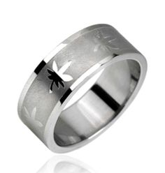 New 316L Stainless Steel Pot/Marijuana Leaf Silver Band Ring, Sizes 9-13 (10145) in Jewelry & Watches, Jewelry & Watches | eBay