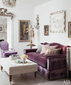 purple luxe velvet sofa + lilac ||  design by Martyn Lawrence-Bullard featured in Architectural Digest