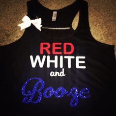 Red White and Booze - Ruffles with Love - Racerback Tank - Womens Fitness - Workout Clothing - Workout Shirts with Sayings