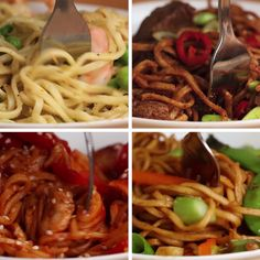 Easy noodles 4 ways. easy noodles 4 ways gluten free recipes videos, pasta I Love Food, Good Food, Yummy Food, Tasty Videos, Food Videos, Easy Cooking, Cooking Recipes, Asian Recipes, Healthy Recipes