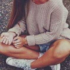 Chunky jumper,Levi shorts and converse