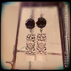 Upcycled Jet & Silver Flower spoon end Earrings