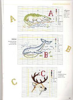 Cross stitch letters with animals - free cross stitch patterns crochet knitting amigurumi Cross Stitch Alphabet Patterns, Embroidery Alphabet, Cross Stitch Letters, Cross Stitch Animals, Embroidery Fonts, Cross Stitch Designs, Stitch Patterns, Crochet Patterns, Baby Chart