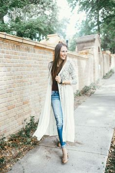 long lace cardigan outfit, Fall inspiring looks http://www.justtrendygirls.com/fall-inspiring-looks/