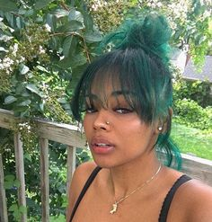 I miss my green hair 💚 Dyed Natural Hair, Dyed Hair, Wavy Hair, Colored Natural Hair, Pretty Hairstyles, Wig Hairstyles, Curly Hair Styles, Natural Hair Styles, Hair Laid