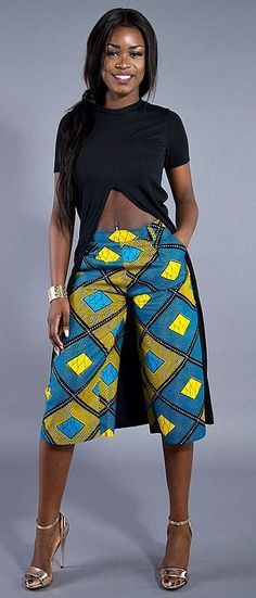 african print dresses Make an entrance this season in our ultra-flattering African print culottes. African Dresses For Women, African Print Dresses, African Fashion Dresses, African Attire, African Wear, African Women, African Prints, African Style, African Inspired Fashion