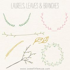 Laurel clip art branch clip art leaves clip by sweetlittlemuse, $10.00