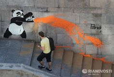 Panda painting - the latest graffiti trend in Moscow has seen the endangered species decorating walls