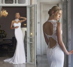 Wedding Dresses With Lace Back 2016 Riki Dalal Elegant Wedding Dresses High Neck Appliqued Satin Open Back Bridal Gowns With Sweep Train And Sleeveless Dress For Wedding From Nicedressonline, $186.03| Dhgate.Com