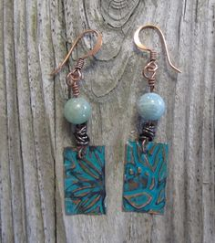 Vintaj sunflower earrings Sizzix embossed patina by MontanaMagic