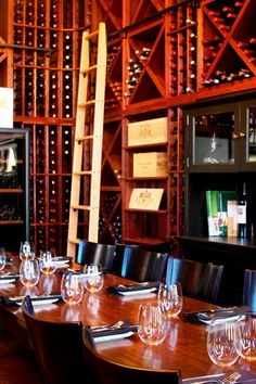 A great shot of our private Wine Room. Wonderfully intimate place to dine surrounded by friends and family, and a couple thousand bottles of wine!