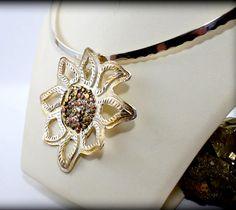 Sunflower Sterling Silver Choker Pendant/ Silver Choker