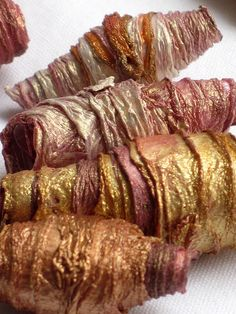 8 mixed media textile art fiber beads hand by CAROLYNSAXBYTEXTILES