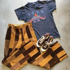 """70's Patchwork Suede Flares W:30. $75+$16(shipping) domestic. Vans (USA) Sneakers size 7.5. $58+$16(shipping) & STYX Gala Tour T-Shirt $65+$8(shipping) domestic. Size M (26""""x18""""). Contact the shop at 415-796-2398 to purchase by phone or PayPal afterlifeboutique@gmail and reference item in post."""