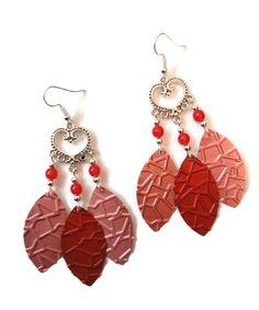 Boucles d'oreilles Coeurs - Gouttes Nespresso - Perles - Roses Rouges : Boucles d'oreille par cap-and-pap