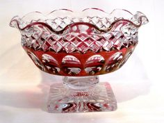 Westmoreland Cranberry Red Crystal Ruffled Footed Bowl #WakefieldPattern Cranberry Glass, Crystal Glassware, Punch Bowls, Wakefield, Crystals, Elegant, Pattern, Red, Ebay