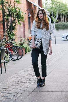 Cropped denim and a chambray shirt