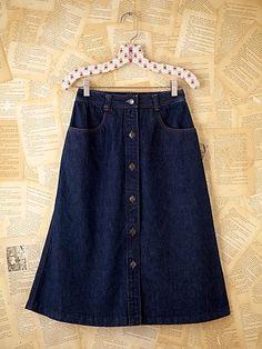 Vintage Halston Denim Skirt