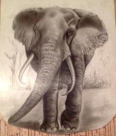 Técnica utilizada, carvão sobre papel, tema utilizado elefante.