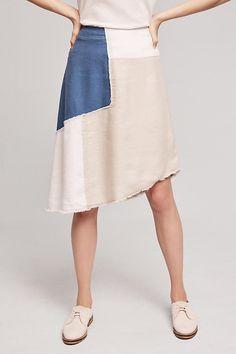 Slide View: 2: Frida Patchwork Denim Skirt