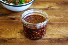 Homemade Chili Oil Ingredients 150 ml Peanut Oil 3 Star Anise 2 tsp Sichuan Peppercorns 20 grams Chili Flakes 10 g Chili Powder. Indian Food Recipes, Asian Recipes, Asian Foods, Vietnamese Recipes, Chinese Chili Oil, Homemade Chili, Homemade Recipe, Meals In A Jar, Soup And Salad