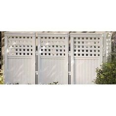 Suncast Outdoor Screen Enclosure 4 Panels White by Suncast. $87.99. Great Gift Idea.. Design is stylish and innovative. Satisfaction Ensured.. Manufactured to the Highest Quality Available.. The Suncast Outdoor Screen Enclosure 4 Panels White has been designed to conceal air conditioners, garbage cans, and trash dumpsters. Featuring durable resin construction, these four enclosure panels and five posts can be arranged. Save 38%!
