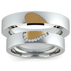 Matching Heart Fingerprint Inlay Wedding Ring Set in White and Yellow Gold | Image 05