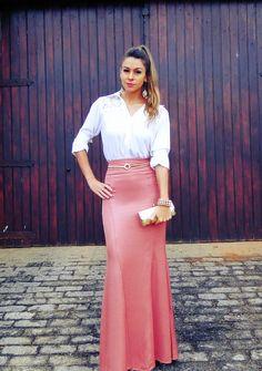 Saia Longa com Camisa Branca - inspiração de looks para festas