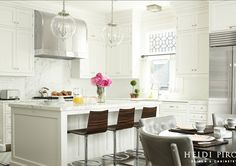 White Kitchen. White Kitchen. Transitional White Kitchen. Kitchen Crown Molding Ideas. To balance the kitchen's existing 10-foot ceiling, three-piece crown molding was selected, instead of the more common two-piece crown, so that the wall cabinets would not appear so tall and towering.  #WhiteKitchen #TramsitionalWhiteKitchen <White Kitchen>