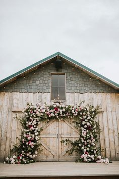 Barn Wedding Ceremony with a Flower Backdrop wedding alter Wild Alaskan Beauty and Pink Peonies Come Together for a Rustic Bar n Wedding Barn Wedding Flowers, Barn Wedding Centerpieces, Barn Wedding Photos, Barn Wedding Venue, Farm Wedding, Wedding Ceremony, Wedding Flower Backdrop, Rustic Wedding Backdrops, Outdoor Ceremony